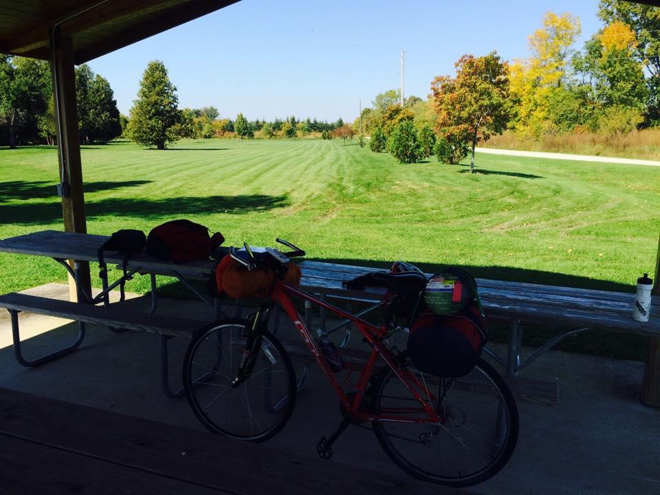 GT Timberline mountian bike loaded ith camping gear