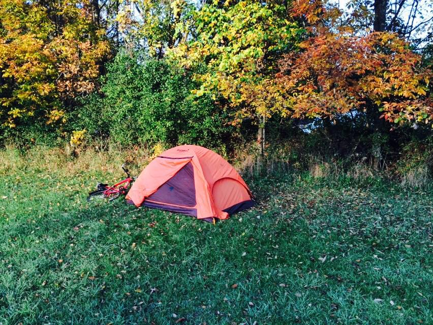 tent and bike in wisconsin