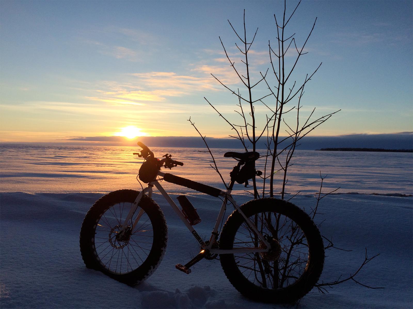 sunset biking trail in january